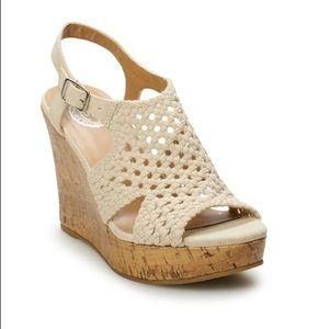 SO® Women's Basket Weave Platform Wedge Sandals
